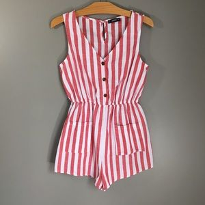Shein Candy Cane Striped Linen Button up Romper